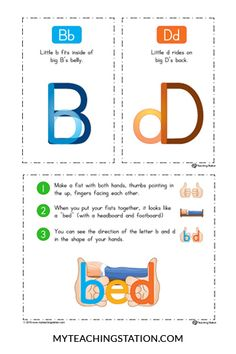 Solving B-D Letter Reversal Problems Kindergarten Literacy, Preschool Learning, Literacy Activities, Dyslexia Activities, Dyslexia Strategies, Kindergarten Anchor Charts, Teaching Reading, Teaching Kids, Teaching Resources