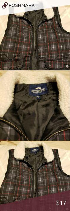 Fur sleeveless vest Cute plaid sleeveless vest - EUC - great w/ a long sleeve British Khaki Other