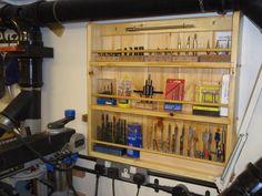 Shop project drill press wall rack - by bluekingfisher Woodworking Hand Saws, Woodworking Workbench, Woodworking Projects, Workshop Organization, Wall Organization, Workbench Organization, Shop Storage, Garage Storage, Home Workshop