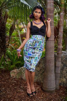 Laura Byrnes California High Waisted Pencil Skirt in Tiki Tiles Print