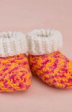 Best Free Crochet » Free Happy Girl Booties Crochet Pattern From RedHeart.com #159