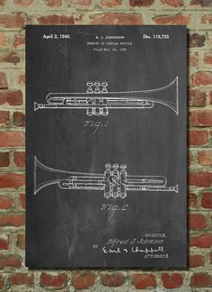 Pinterest the worlds catalog of ideas york trumpet 1939 patent poster big band band director gift instrument gifts for musicians music room decor malvernweather Image collections