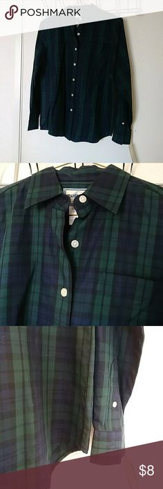 Pendleton Green and Blue Plaid Shirt Pendleton Green and Blue Plaid Shirt, size SP, Brand new with tags long sleeve button down, two buttons on sleeves, deep color, 100% cotton.  Thanks for visiting! Follow me for vintage and on-trend finds. Pendleton Tops Button Down Shirts