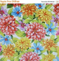 NEW YEAR SALE Adalees Garden~Summer Flowers~Floral Cotton Fabric, Quilt,~Red Rooster~Fast Shipping F570