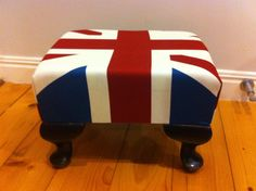 Union Jack decorative foot stool by sticksnstoneinterior on Etsy, $40.00