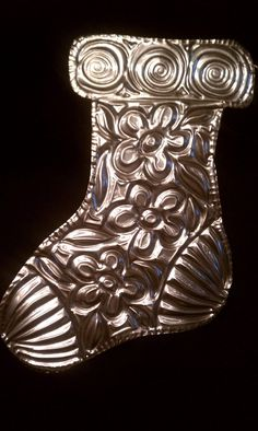Hand Tooled Metal Stocking Ornament by Gemmasgems on Etsy, $5.00
