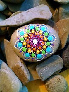 Large Hand Painted Beach Stone Rainbow by P4MirandaPitrone