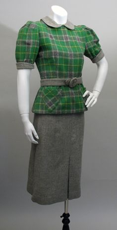 "Green and grey wool dress set. [Originally pinned ""circa 1950,"" but I think it's clearly late 1930s - say 1938.]"