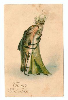 Vintage Valentine Cards, My Funny Valentine, Vintage Cards, Vintage Postcards, Vintage Images, Creepy Vintage, Art Et Illustration, Whimsical Art, Oeuvre D'art