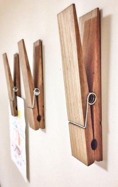 These massive wooden clothespins can hold artwork, photographs or reminders, and…