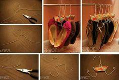 Schuhschrank selber bauen - Schuhe auf Bügeln