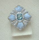JUDITH RIPKA STERLING SILVER BLUE LACE AGATE TOPAZ BROOCH PIN ENHANCER PENDANT