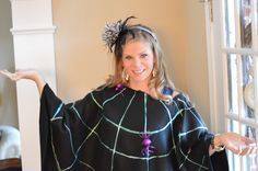 Easy to make - Spider Web Poncho - great alternative to a costume for Halloween and Trick or Treat!
