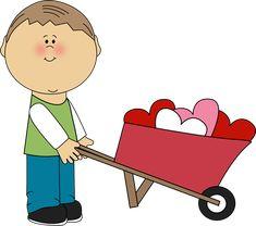 Valentine's Day Clip Art Free | Boy Pushing Wheelbarrow of Hearts Clip Art - Boy Pushing Wheelbarrow ...