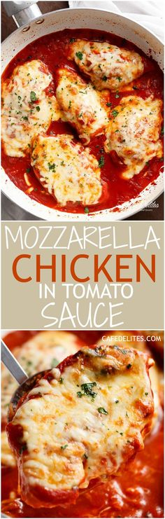A quick and easy Mozzarella Chicken In Tomato Sauce made in the one skillet in…