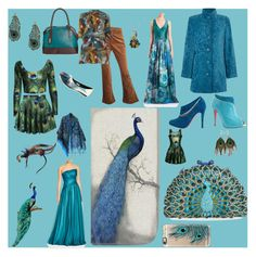 """All things peacock"" by freida-adams ❤ liked on Polyvore featuring Tasha, Universal Lighting and Decor, Casetify, TIGI, ML Monique Lhuillier, Home Decorators Collection, Christian Louboutin, Theia, Dorothy Perkins and Tignanello"