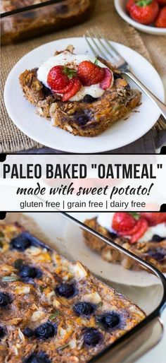 """This easy, healthy paleo baked oatmeal or """"noatmeal"""" is a grain free twist on breakfast using sweet potato, flax, coconut and eggs. (gluten free, dairy free)"""