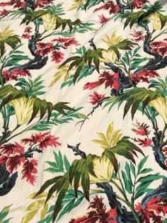 Stunning tropical barkcloth curtain panels from the 1940s.