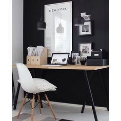 I love black walls! Especially if they are chalk boards too and they're in my working area so I can doodle and make notes on them while in conference calls :) Would you paint a chalk board wall at home (for you or for your kids?)