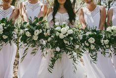 Big and wild, white and green bouquets