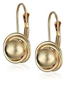 14k Yellow Gold Ball with Three Ring Earrings (6mm ) -- Check this awesome product by going to the link at the image.