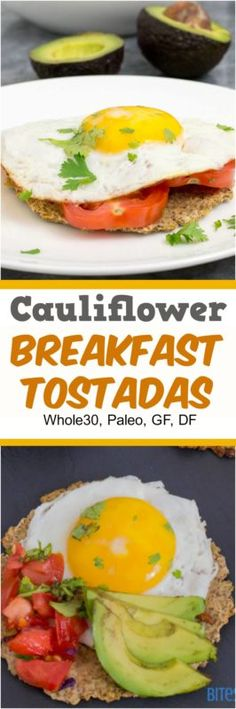 Enjoy these low carb cauliflower breakfast tostadas for breakfast, brunch or dinner! Grain free, paleo, whole30 and so simple! | bitesofwellness.com