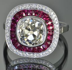 4.22 Victorian Style Old Mine Cut Diamond and Ruby Ring. WOW.