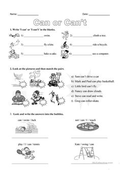 Can or can't - English ESL Worksheets English Activities For Kids, English Grammar For Kids, Primary English, Learning English For Kids, English Worksheets For Kids, English Lessons For Kids, Kids English, Vocabulary Activities, Kids Learning Activities