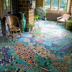Love this crazy quilt type floor and the color blend