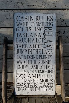 Cabin Rules sign Rustic Cabin Sign Up North Decor by Wildoaks