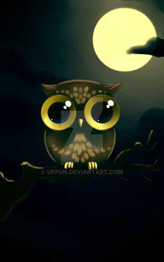 Cute Owls Wallpaper, Cute Wallpaper Backgrounds, Animal Wallpaper, Cute Cartoon Wallpapers, Cute Animal Drawings, Cute Drawings, Cute Owl Drawing, Angry Birds Desenho, Owl Artwork
