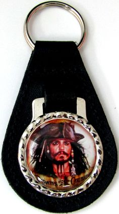 Pirates of the Caribbean Captain Jack Sparrow 1 Black Leather Key Fob Ring FOB-0276