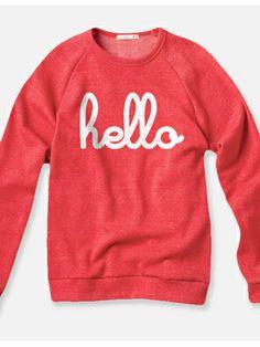 Hello Red Champ Pullover, $50, hellomerch.com