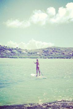 Candice Swanepoel morning paddle board