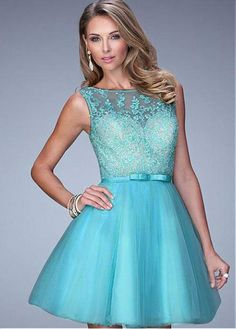 Marvelous Tulle Scoop Neckline A-line Homecoming Dresses With Beaded Lace Appliques