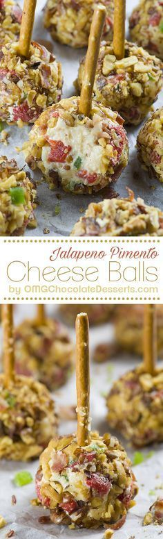 Jalapeno Pimento Cheese Balls are quick and easy, last minute appetizers perfect for New Year's Eve or fun and festive Super Bowl party. (Last Minutes Appetizer) New Year's Eve Appetizers, Appetizers For A Crowd, Finger Food Appetizers, Appetizer Recipes, Dessert Recipes, Party Appetizers, Party Snacks, Dip Recipes, Appetizer Ideas