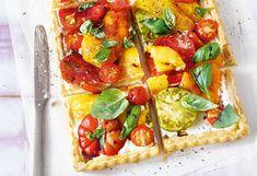 Paprika-Tomaten-Tarte mit Frischkäse und Balsamico