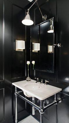 Black Walls / all black / bathroom / interior decor / decoration / black and white / modern / minimal / eclectic Gothic Bathroom, White Bathroom, Modern Bathroom, Small Bathroom, Masculine Bathroom, Black Bathrooms, Zen Bathroom, Mirror Bathroom, Minimalist Bathroom