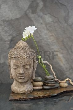 Stone Buddha head sculpture with flower and stones in water
