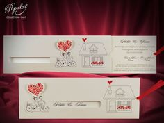 Creative Wedding Invitation Card with Bike, Animated Romantic Invitations with Loving Couple, Fancy Funny Invites with Bicycle (code Farewell Party Invitations, Creative Wedding Invitations, Beautiful Wedding Invitations, Invitation Envelopes, Wedding Invitation Cards, Henna Night, Origami Wedding, Cottage Wedding, Slider Cards
