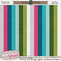 Merry and Bright Glitter Embossed Papers