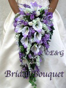 coral and grey long wedding bouquets with cala lillys - Google Search