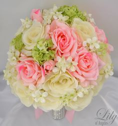 Wedding Bridal Bouquet Silk Flowers bouquets by LilyOfAngeles,  Love love love these. They look so real and are prettier than most I've seen...That way we can save them. I'd love to use them around the house