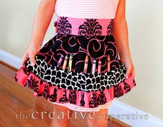 Tutorial: Child's Crayon apron sewing pattern  Monica Dem onto Aprons: 300+ Tutorials & Patterns Only