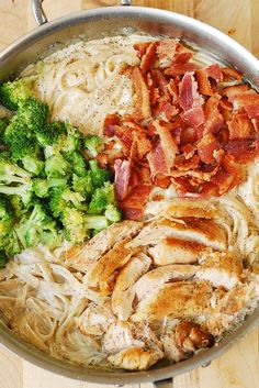 Creamy Broccoli, Chicken Breast, and Bacon Fettuccine Pasta in homemade Alfredo sauce. Easy, delicious pasta dinner.