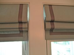 Home Accessories, Easy On The Eye Ideas How To Make Insulated Roman Shades With Striped Brown Blinds Design On Double Windows Interior Room Inspirations: Enchanting Insulated Roman Blinds