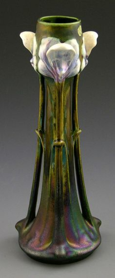 Art Nouveau Glazed Tall Vase, 19th c., probably Austrian, with iridescent glaze, the sides with three applied relief irises