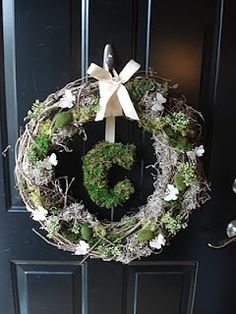 like the idea of the moss covered letter, but would have to come up with something different for the wreath area....maybe something with birds/nests, really woodsy & rustic