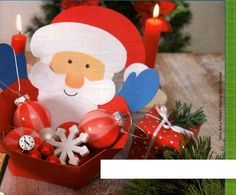 """""""Ταξίδι στη Χώρα...των Παιδιν!"""": Φτιάχνουμε """"καλαθάκια"""" για τις χριστουγεννιάτικες δημιουργίες των παιδιών! Christmas Bulbs, Christmas Crafts, Craft Patterns, Santa, Paper Crafts, Templates, Holiday Decor, Blog, Xmas"""