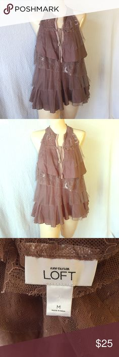 Ann Taylor Loft Mauve Tiered Lace Sleeveless Top Mauve Tiered Lace Ann Taylor Loft Sleeveless Top - women's medium - EUC - Worn 3 or 4 times & dry cleaned only - No pilling - Lace is not hemmed more like distressed but no pulls - Front tie or you can tuck it in & hide it - non-smoker – no holes – no trades – no PayPal Band of Gypsies Tops